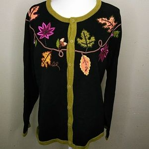 Vintage Bobbie Bell Cardigan with Autumn Leaves XL